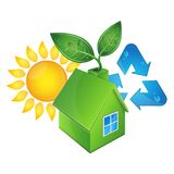 Eco house and sun. Alternative energy sources and recycling Stock Photos