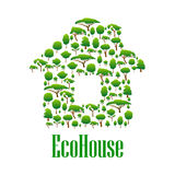 Eco house symbol with green trees and plants Stock Image