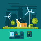 Eco house in urban scene with green energy Royalty Free Stock Images