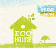Eco House Vector Organic Creative Illustration on Recycled Paper Background Royalty Free Stock Photo