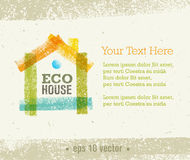 Eco House Vector Organic Creative Illustration on Recycled Paper Background Stock Photos