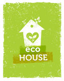 Eco House Vector Organic Creative Illustration on Recycled Paper Background Royalty Free Stock Photography