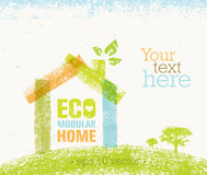 Eco House Vector Organic Creative Illustration on Recycled Paper Background Royalty Free Stock Photos