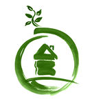 Eco house web icon sketch painted. Green house in circle with leaf illustration or button. Green brush paint handmade on paper on white background Royalty Free Stock Photography