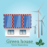 Eco house. Wind and solar energy. Green house. Stock Photos