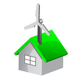 Eco house with wind turbine Royalty Free Stock Image