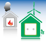 Eco house with wind turbine Stock Photo