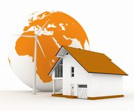 Eco house with wind turbine Royalty Free Stock Photography