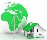 Eco house with wind turbine , environmentally friendly. 3d render illustration on white background Stock Photos