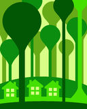 Eco houses. Eco friendly housing in green woods vector illustration
