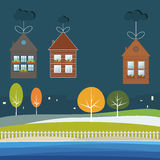 Eco Houses For Sale / Rent. Real Estate Concept Royalty Free Stock Photo