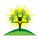Eco human character. Green and sun logo sign. Stock Photos
