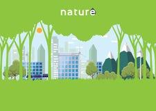 Eco i natura szablonu projekt z lasem i miastem w płaskim desi Obraz Stock