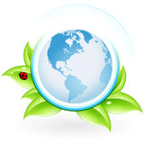 ECO icon. Green ecology icon with leaves and globe for your design Royalty Free Stock Photo
