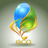 Eco-icon. With nature yin-yang and gold leaf Stock Photo