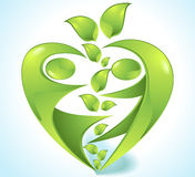 Eco-icon with green dancers Royalty Free Stock Photo