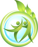 Eco-icon with green dancers Stock Photos