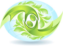 Eco-icon with green dancers Stock Photo