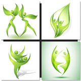 Eco-icon with green dancers Royalty Free Stock Photos