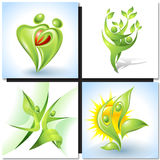 Eco-icon with green dancers Royalty Free Stock Photography