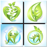 Eco-icon with green dancers Royalty Free Stock Images