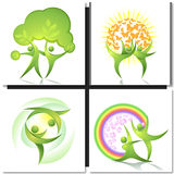 Eco-icon green dancers with tree concept Stock Image