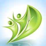 Eco-icon with green sailors Royalty Free Stock Photos