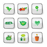Eco icon green on sticker vector Royalty Free Stock Image