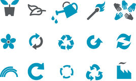 Eco Icon Set. Vector icons pack - Blue Series, eco collection Stock Photo