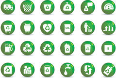 Eco icon set. Illustrated as green buttons Stock Photography