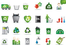 Eco icon set. Illustrated as green buttons Stock Photos