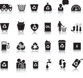 Eco icon set. Illustrated as black silhouettes with reflection Stock Image