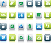 Eco icon set. Illustrated as green, blue and white buttons Stock Photo