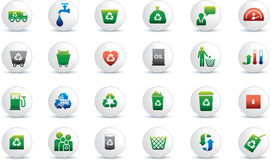 Eco icon set. Illustrated as white buttons Stock Image