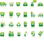 Eco icon set. Illustrated as green buttons Royalty Free Stock Images