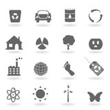 Eco icon set. In grayscale Stock Images