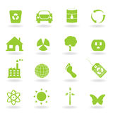 Eco Icon Set. Eco and environment icon set vector illustration