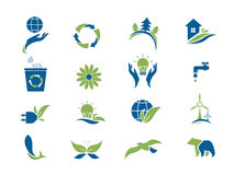 Eco icon set. Environment vector illustration Royalty Free Stock Photo