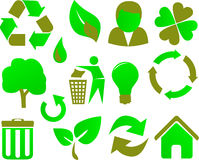 Eco icon set green.  Royalty Free Stock Photography
