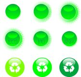 Eco icon set green Royalty Free Stock Photography