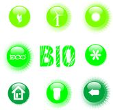 Eco icon set green button Royalty Free Stock Photo