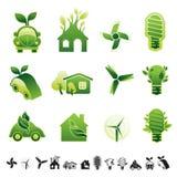 Eco icon set. Set of 12 icons with sustainable environment use symbols Stock Image