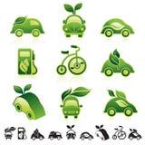 Eco icon set. Set of 12 icons with sustainable transportation symbols Stock Photo