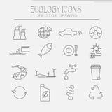Eco icon set. Modern set of ecology icons. Line style drawing Stock Photography