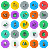 Eco icon set on round background. Created For Mobile, Web, Decor, Print Products, Applications. Icon . Vector illustration Stock Illustration