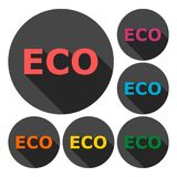 Eco icon sign set with long shadow Royalty Free Stock Image