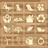 Eco icon sign set vector, wood texture Stock Photo