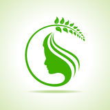 Eco icon with women face Royalty Free Stock Image