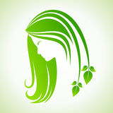 Eco icon with women face Royalty Free Stock Photos