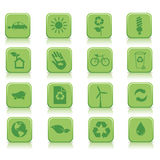 Eco icons. Sixteen type of ecological icons Royalty Free Stock Photos